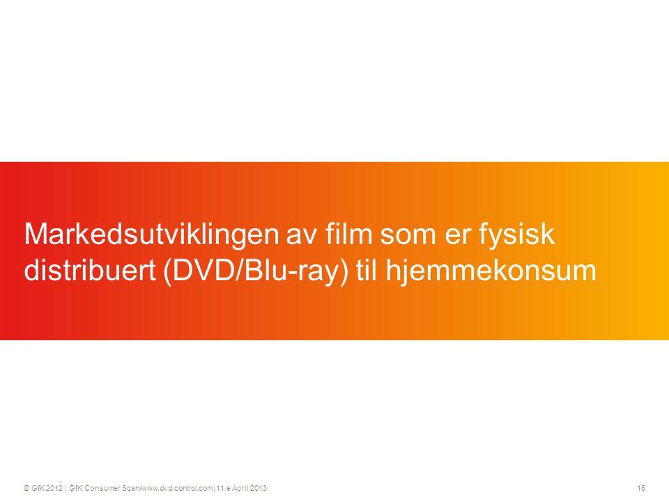 © GfK 2012 | GfK Consumer Scan/www.dvd-control.com| 11.e April 2013 15 Markedsutviklingen av film som er fysisk distribuert (DVD/Blu-ray) til hjemmekonsum