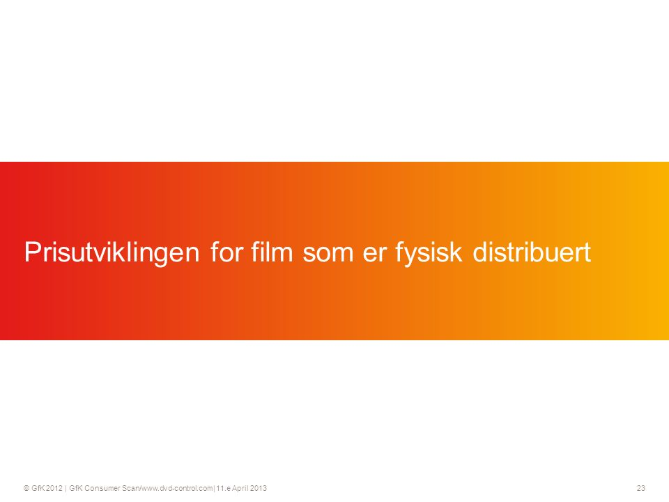 © GfK 2012 | GfK Consumer Scan/  11.e April Prisutviklingen for film som er fysisk distribuert