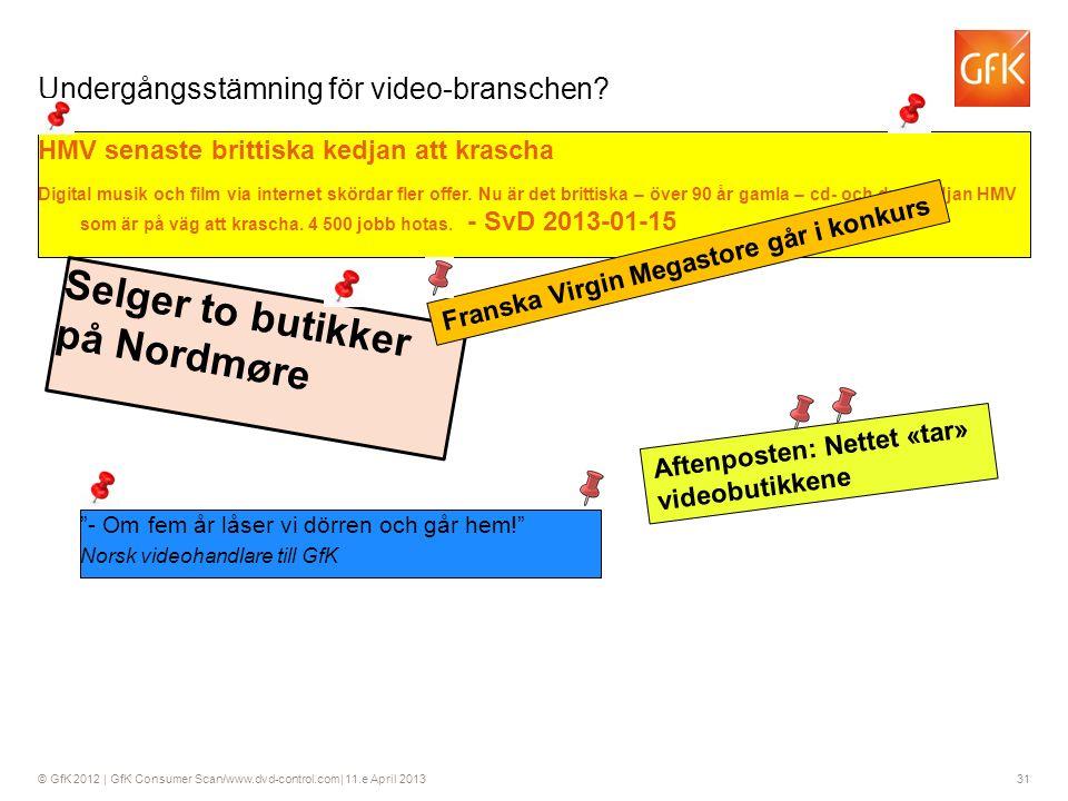 © GfK 2012 | GfK Consumer Scan/www.dvd-control.com| 11.e April 2013 31 HMV senaste brittiska kedjan att krascha Digital musik och film via internet skördar fler offer.