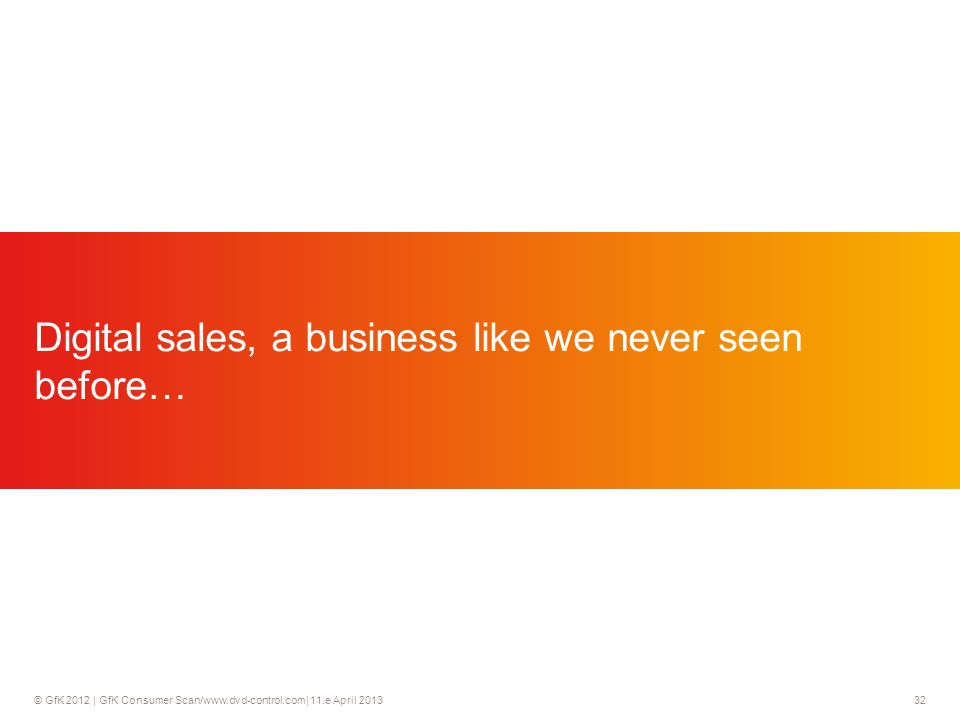 © GfK 2012 | GfK Consumer Scan/www.dvd-control.com| 11.e April 2013 32 Digital sales, a business like we never seen before…