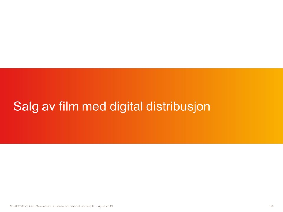 © GfK 2012 | GfK Consumer Scan/www.dvd-control.com| 11.e April 2013 36 Salg av film med digital distribusjon