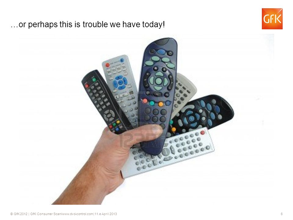 © GfK 2012 | GfK Consumer Scan/www.dvd-control.com| 11.e April 2013 6 …or perhaps this is trouble we have today.