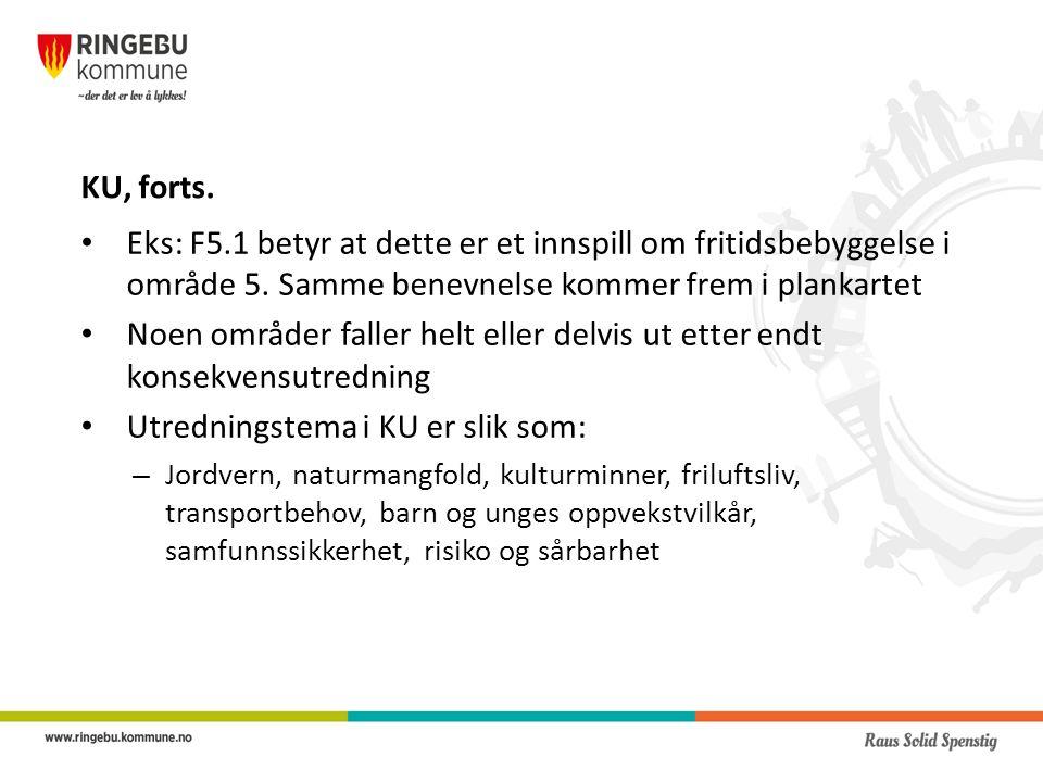 KU, forts.Eks: F5.1 betyr at dette er et innspill om fritidsbebyggelse i område 5.
