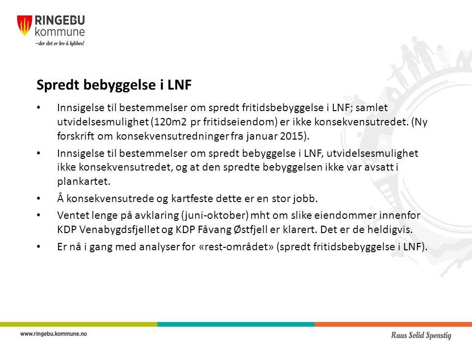 Spredt bebyggelse i LNF Innsigelse til bestemmelser om spredt fritidsbebyggelse i LNF; samlet utvidelsesmulighet (120m2 pr fritidseiendom) er ikke konsekvensutredet.