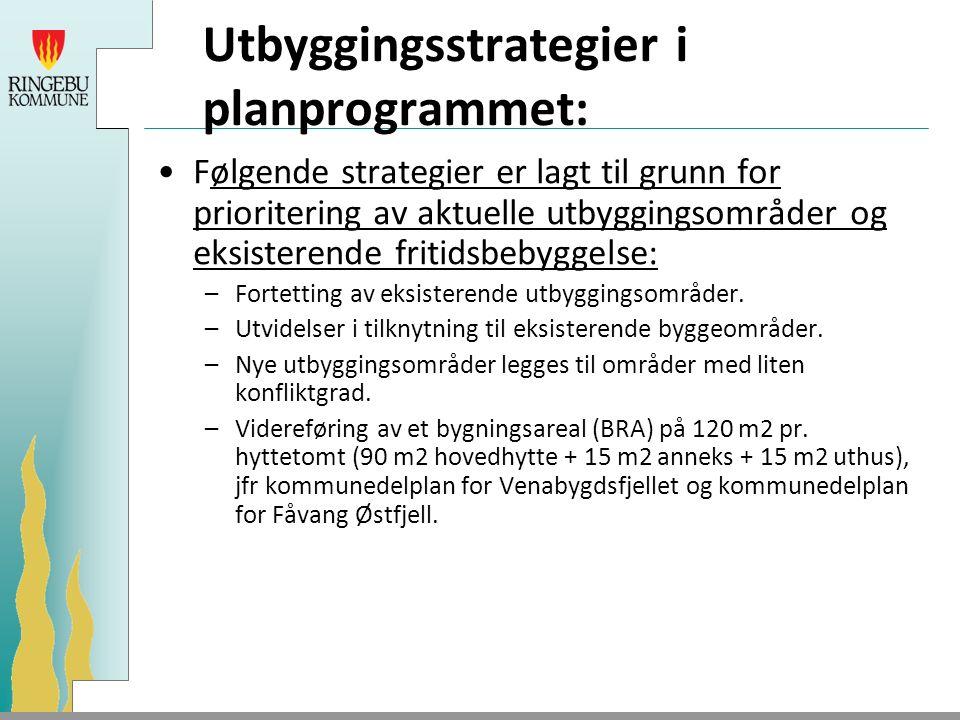 Utbyggingsstrategier i planprogrammet: Følgende strategier er lagt til grunn for prioritering av aktuelle utbyggingsområder og eksisterende fritidsbebyggelse: –Fortetting av eksisterende utbyggingsområder.