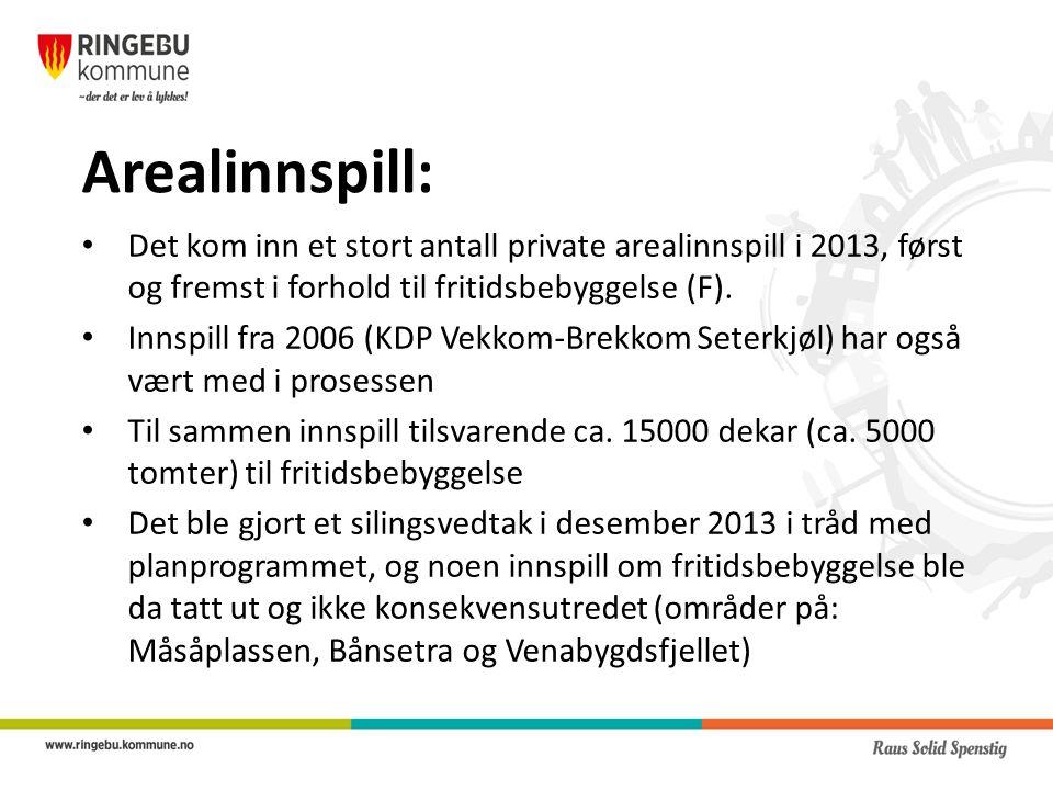 Arealinnspill: Det kom inn et stort antall private arealinnspill i 2013, først og fremst i forhold til fritidsbebyggelse (F).