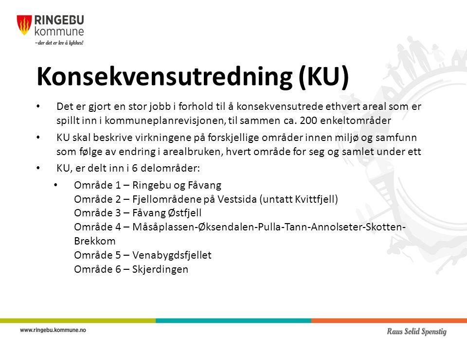 Konsekvensutredning (KU) Det er gjort en stor jobb i forhold til å konsekvensutrede ethvert areal som er spillt inn i kommuneplanrevisjonen, til sammen ca.