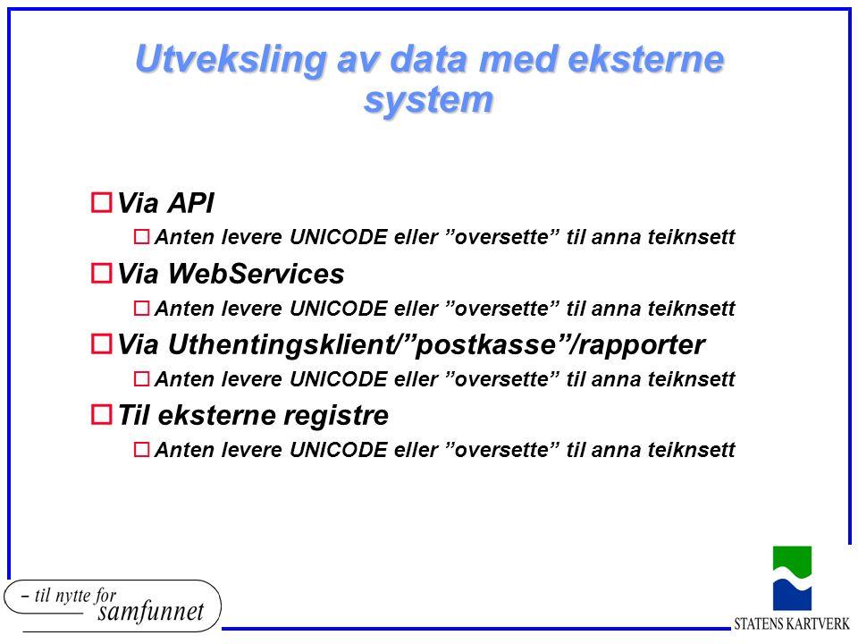 Utveksling av data med eksterne system oVia API oAnten levere UNICODE eller oversette til anna teiknsett oVia WebServices oAnten levere UNICODE eller oversette til anna teiknsett oVia Uthentingsklient/ postkasse /rapporter oAnten levere UNICODE eller oversette til anna teiknsett oTil eksterne registre oAnten levere UNICODE eller oversette til anna teiknsett