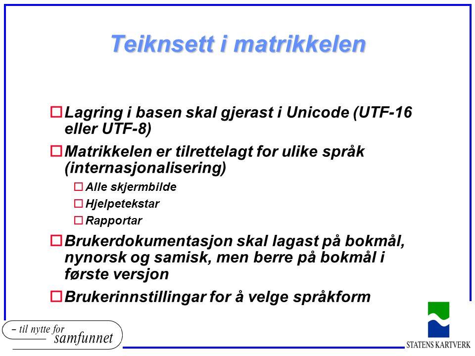 Teiknsett i matrikkelen oLagring i basen skal gjerast i Unicode (UTF-16 eller UTF-8) oMatrikkelen er tilrettelagt for ulike språk (internasjonalisering) oAlle skjermbilde oHjelpetekstar oRapportar oBrukerdokumentasjon skal lagast på bokmål, nynorsk og samisk, men berre på bokmål i første versjon oBrukerinnstillingar for å velge språkform