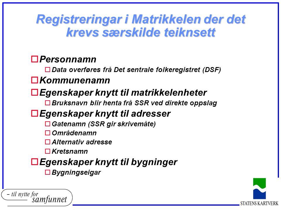 Registreringar i Matrikkelen der det krevs særskilde teiknsett oPersonnamn oData overføres frå Det sentrale folkeregistret (DSF) oKommunenamn oEgenskaper knytt til matrikkelenheter oBruksnavn blir henta frå SSR ved direkte oppslag oEgenskaper knytt til adresser oGatenamn (SSR gir skrivemåte) oOmrådenamn oAlternativ adresse oKretsnamn oEgenskaper knytt til bygninger oBygningseigar