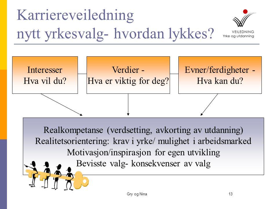 Gry og Nina14 Individuell veiledning  Utvidelse av jobb- perspektivet med utgangspunkt i nåværende jobb  Kompetansekartlegging og realkompetansevurdering/fagopplæring  Rettigheter til grunnskole/vgo.