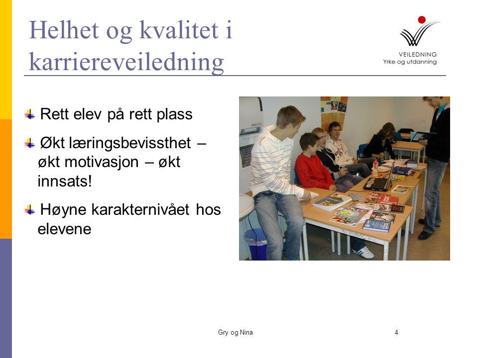 Gry og Nina4 Rett elev på rett plass Økt læringsbevissthet – økt motivasjon – økt innsats.