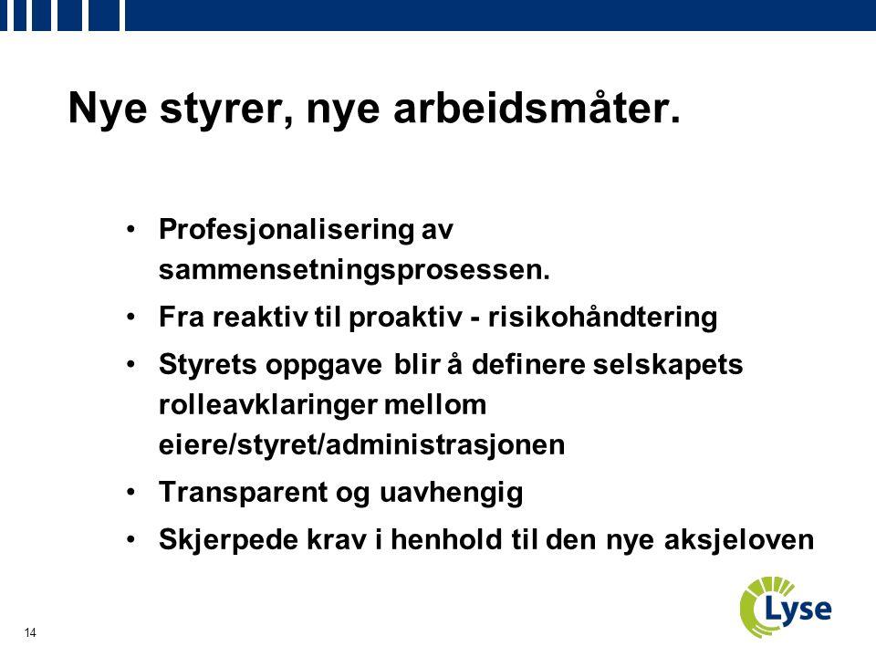 14 Nye styrer, nye arbeidsmåter. Profesjonalisering av sammensetningsprosessen.