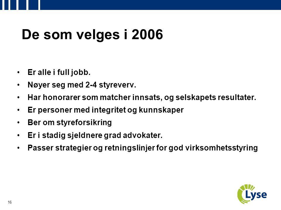 16 De som velges i 2006 Er alle i full jobb. Nøyer seg med 2-4 styreverv.