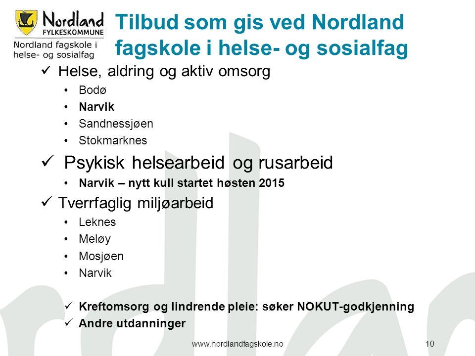 Tilbud som gis ved Nordland fagskole i helse- og sosialfag Helse, aldring og aktiv omsorg Bodø Narvik Sandnessjøen Stokmarknes Psykisk helsearbeid og