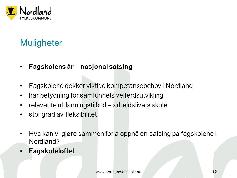 Muligheter Fagskolens år – nasjonal satsing Fagskolene dekker viktige kompetansebehov i Nordland har betydning for samfunnets velferdsutvikling releva