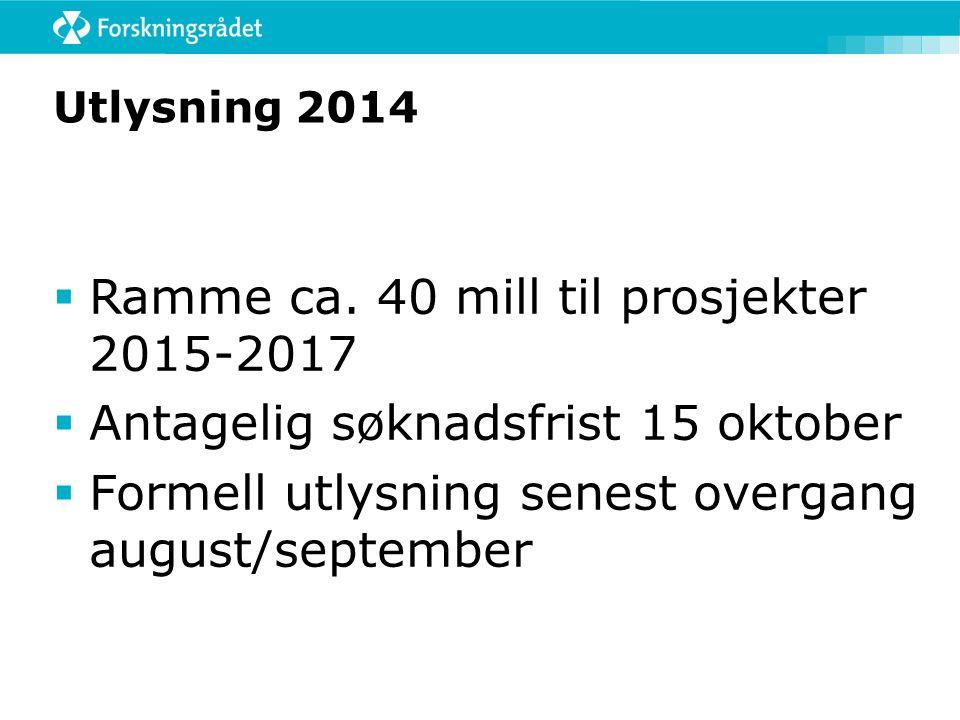 Utlysning 2014  Ramme ca.