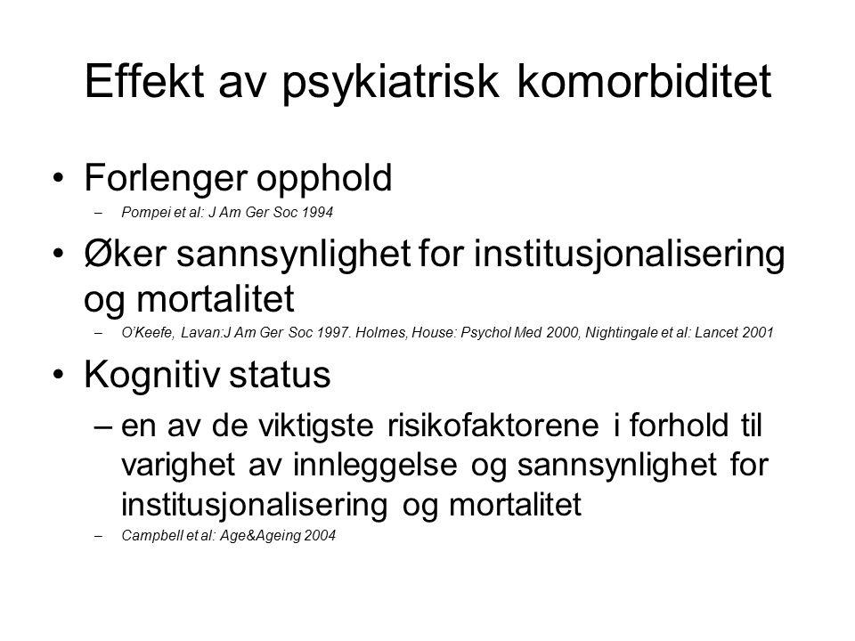 Effekt av psykiatrisk komorbiditet Forlenger opphold –Pompei et al: J Am Ger Soc 1994 Øker sannsynlighet for institusjonalisering og mortalitet –O'Keefe, Lavan:J Am Ger Soc 1997.