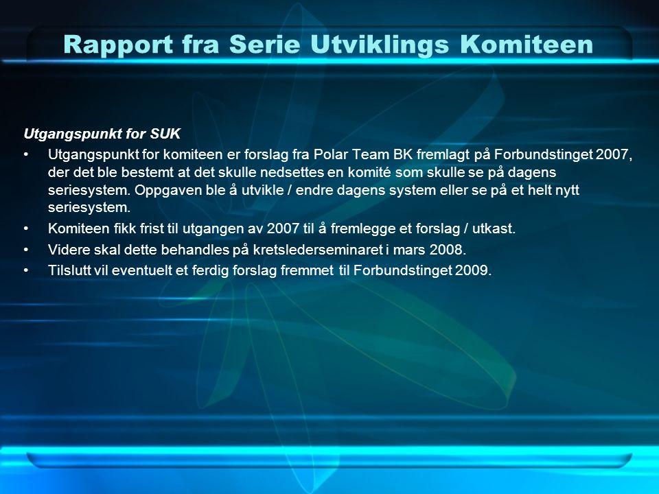 Rapport fra Serie Utviklings Komiteen Utgangspunkt for SUK Utgangspunkt for komiteen er forslag fra Polar Team BK fremlagt på Forbundstinget 2007, der det ble bestemt at det skulle nedsettes en komité som skulle se på dagens seriesystem.