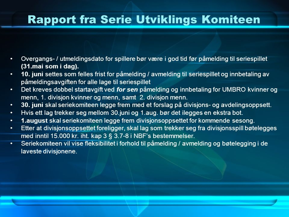 Rapport fra Serie Utviklings Komiteen c.