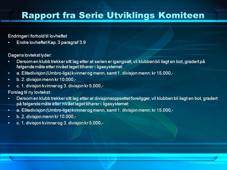Rapport fra Serie Utviklings Komiteen d.Overgangsordning Fra dagens ordning til nytt seriesystem.