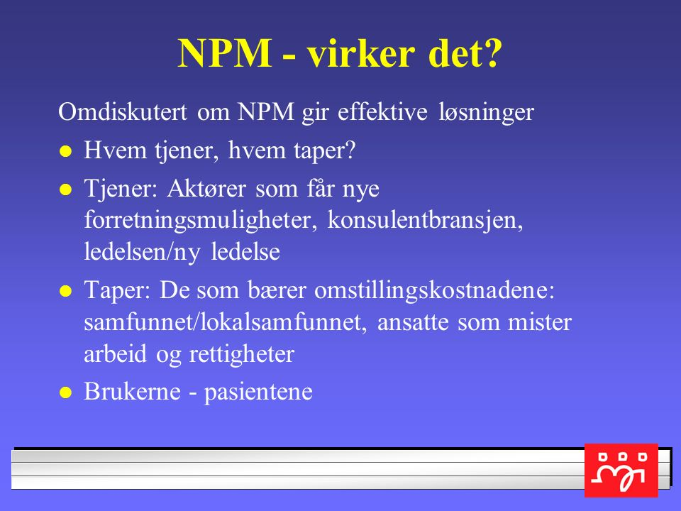 Drivkreftene bak NPM: Off.