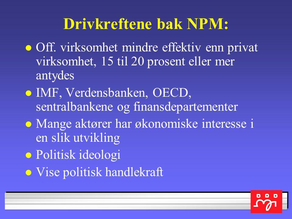 NPM-tiltak: Bestiller-/utførermodeller og konkurransesetting av hele virksomheter Oppsplitting av offentlig virksomhet i selskaper/AS som styres etter bedriftsøkonomiske prinsipper i stede for av folkevalgte Privatisering og utsalg av off.