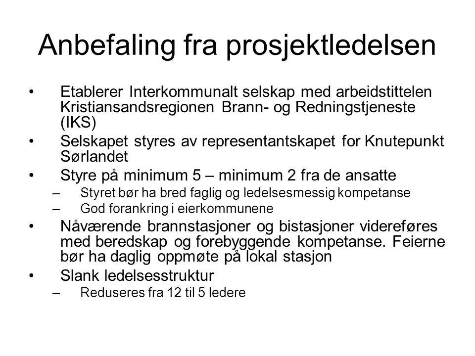 Anbefaling fra prosjektledelsen Etablerer Interkommunalt selskap med arbeidstittelen Kristiansandsregionen Brann- og Redningstjeneste (IKS) Selskapet