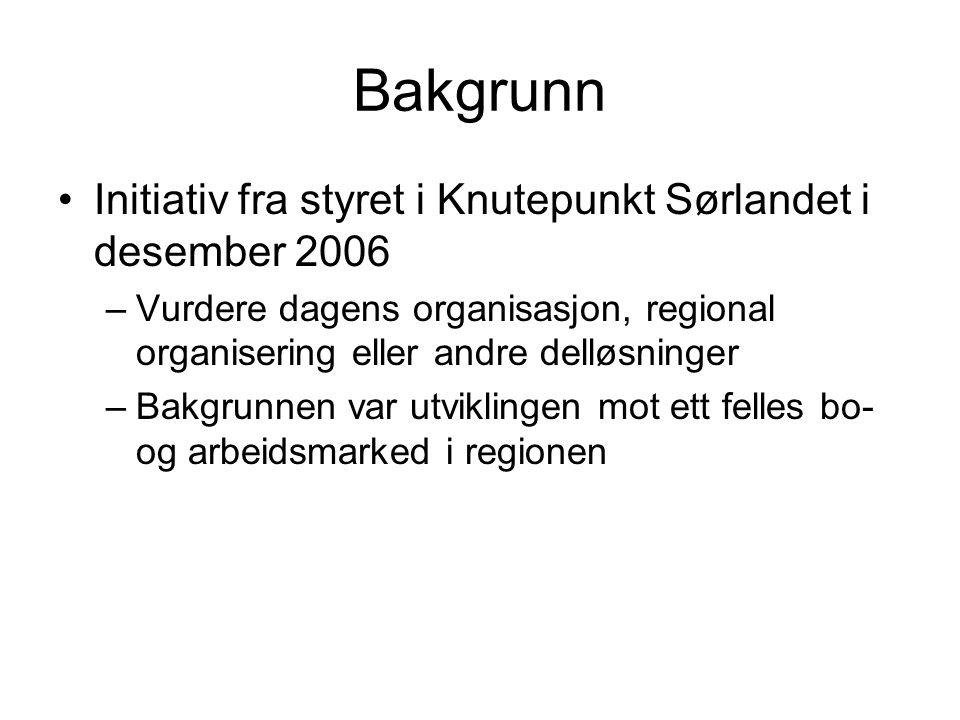 Bakgrunn Initiativ fra styret i Knutepunkt Sørlandet i desember 2006 –Vurdere dagens organisasjon, regional organisering eller andre delløsninger –Bakgrunnen var utviklingen mot ett felles bo- og arbeidsmarked i regionen