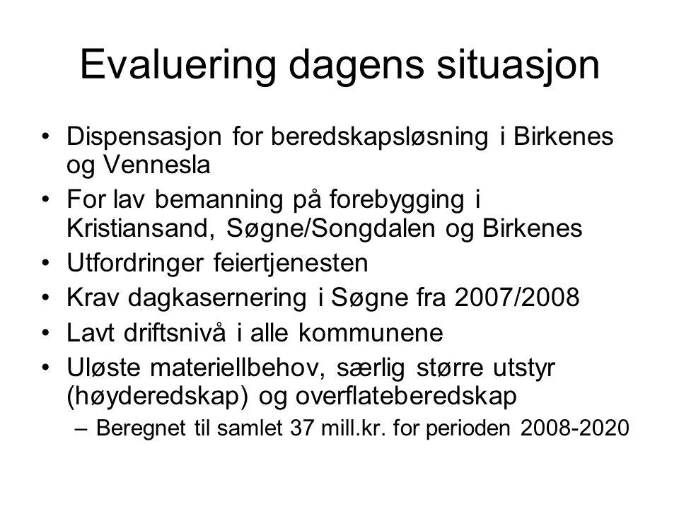 Evaluering dagens situasjon Dispensasjon for beredskapsløsning i Birkenes og Vennesla For lav bemanning på forebygging i Kristiansand, Søgne/Songdalen