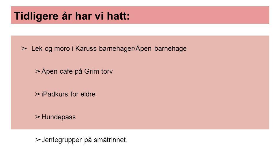 Tidligere år har vi hatt: ➢ Lek og moro i Karuss barnehager/Åpen barnehage ➢ Åpen cafe på Grim torv ➢ iPadkurs for eldre ➢ Hundepass ➢ Jentegrupper på