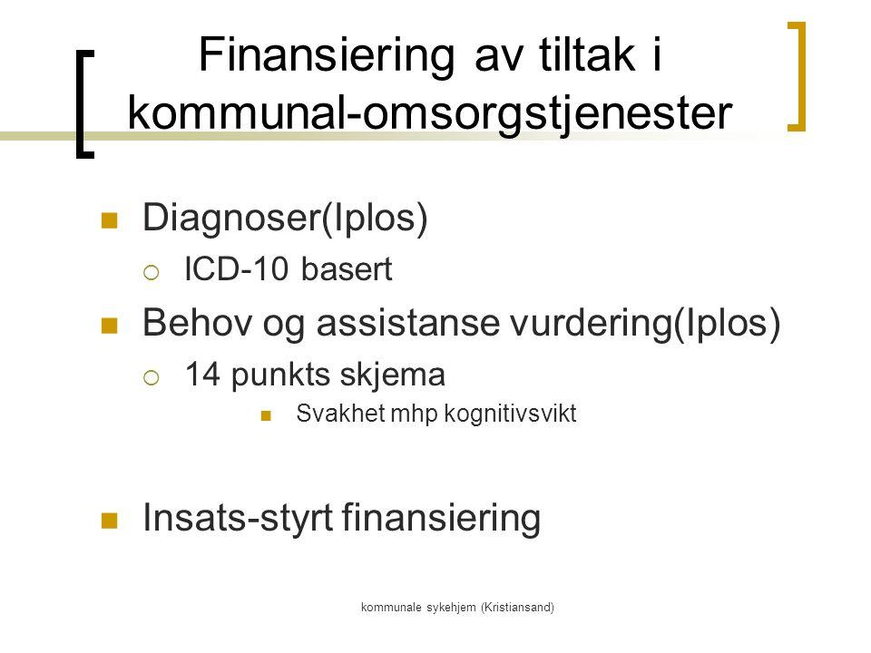 kommunale sykehjem (Kristiansand) Finansiering av tiltak i kommunal-omsorgstjenester Diagnoser(Iplos)  ICD-10 basert Behov og assistanse vurdering(Iplos)  14 punkts skjema Svakhet mhp kognitivsvikt Insats-styrt finansiering