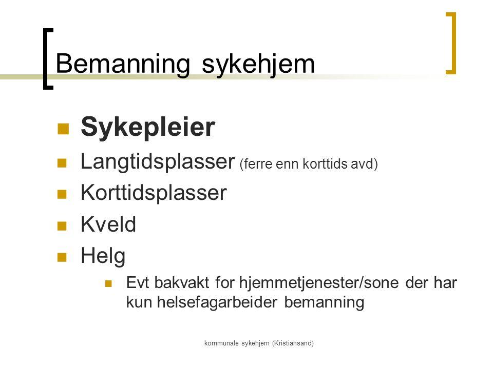 kommunale sykehjem (Kristiansand) Bemanning sykehjem Sykepleier Langtidsplasser (ferre enn korttids avd) Korttidsplasser Kveld Helg Evt bakvakt for hjemmetjenester/sone der har kun helsefagarbeider bemanning