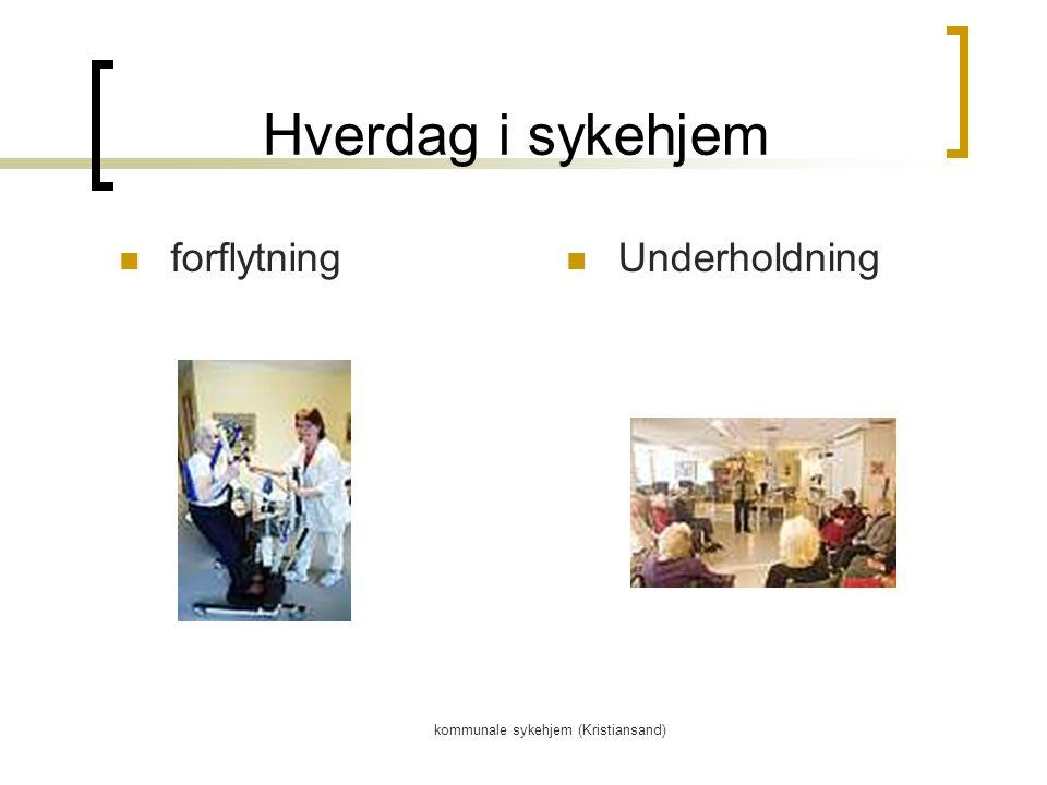 kommunale sykehjem (Kristiansand) Hverdag i sykehjem forflytning Underholdning