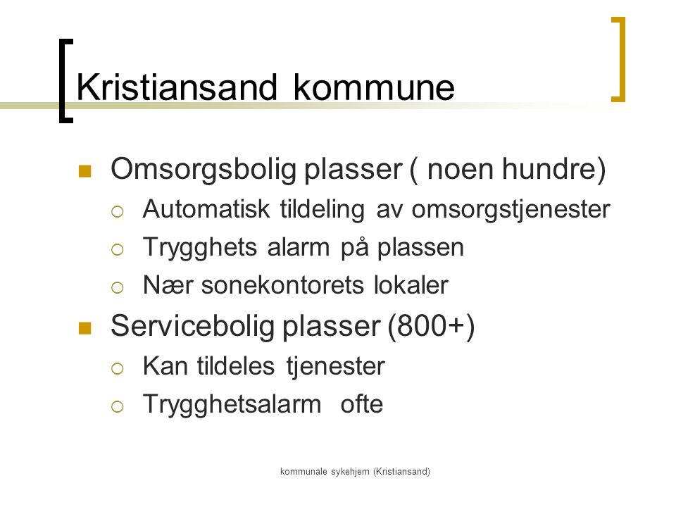 kommunale sykehjem (Kristiansand) Kristiansand kommune Omsorgsbolig plasser ( noen hundre)  Automatisk tildeling av omsorgstjenester  Trygghets alarm på plassen  Nær sonekontorets lokaler Servicebolig plasser (800+)  Kan tildeles tjenester  Trygghetsalarm ofte