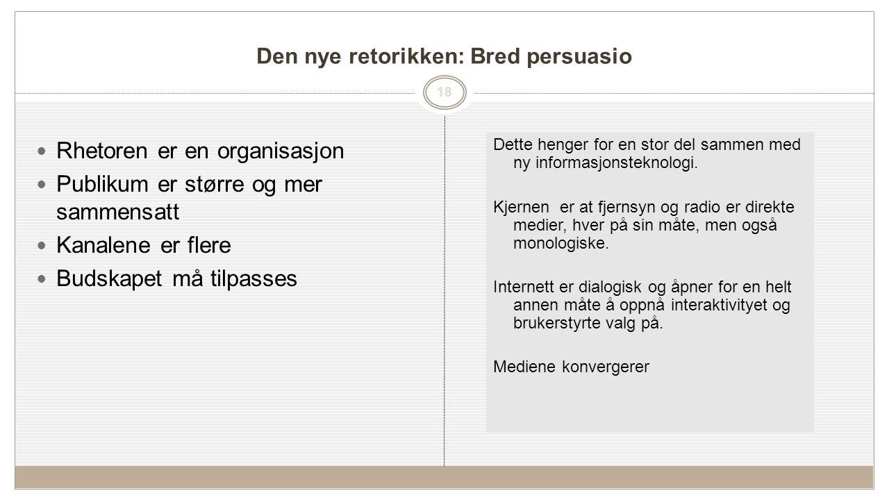 18 Den nye retorikken: Bred persuasio Rhetoren er en organisasjon Publikum er større og mer sammensatt Kanalene er flere Budskapet må tilpasses Dette henger for en stor del sammen med ny informasjonsteknologi.