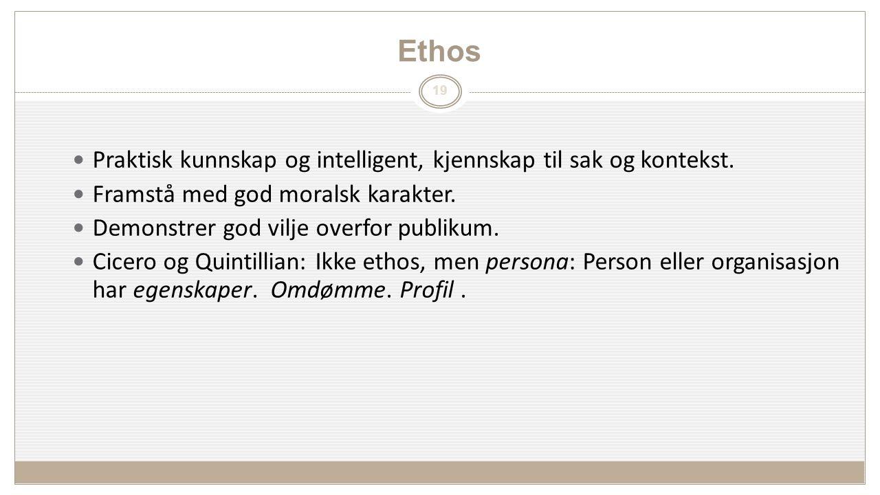 19 Ethos Praktisk kunnskap og intelligent, kjennskap til sak og kontekst.