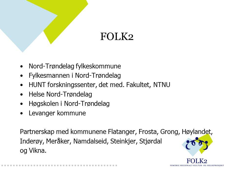 FOLK2 Nord-Trøndelag fylkeskommune Fylkesmannen i Nord-Trøndelag HUNT forskningssenter, det med. Fakultet, NTNU Helse Nord-Trøndelag Høgskolen i Nord-