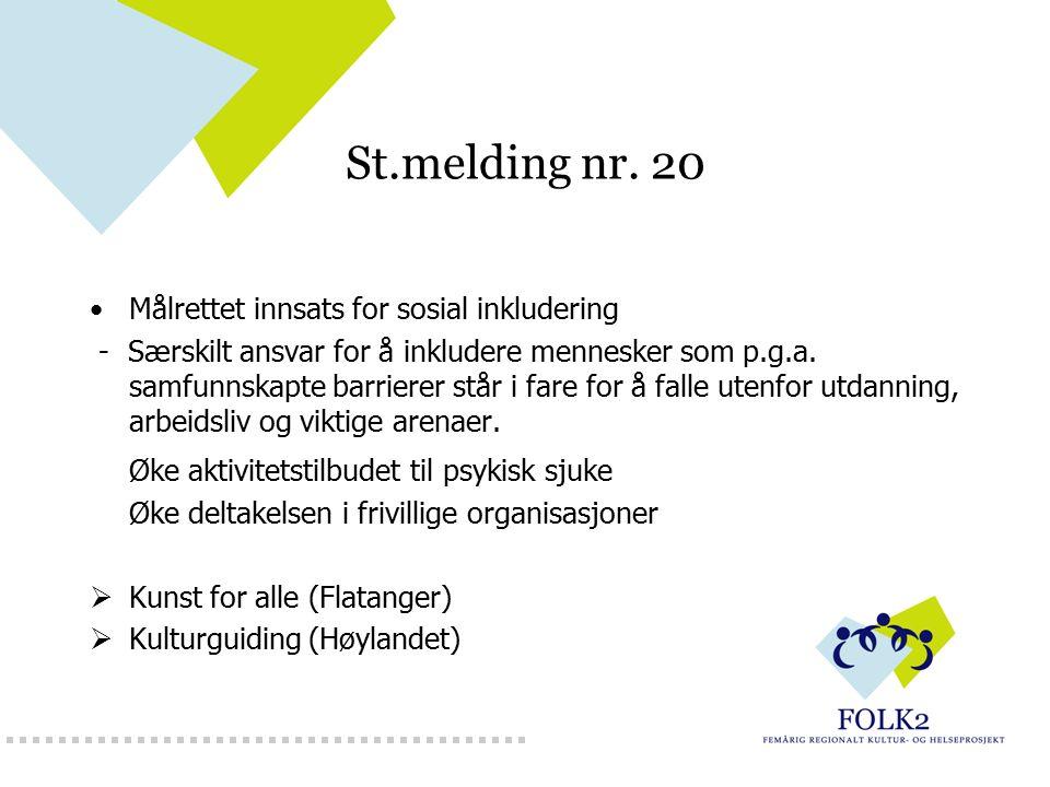 St.melding nr. 20 Målrettet innsats for sosial inkludering - Særskilt ansvar for å inkludere mennesker som p.g.a. samfunnskapte barrierer står i fare