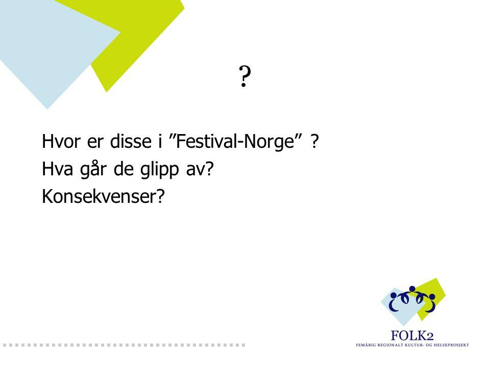 """? Hvor er disse i """"Festival-Norge"""" ? Hva går de glipp av? Konsekvenser?"""