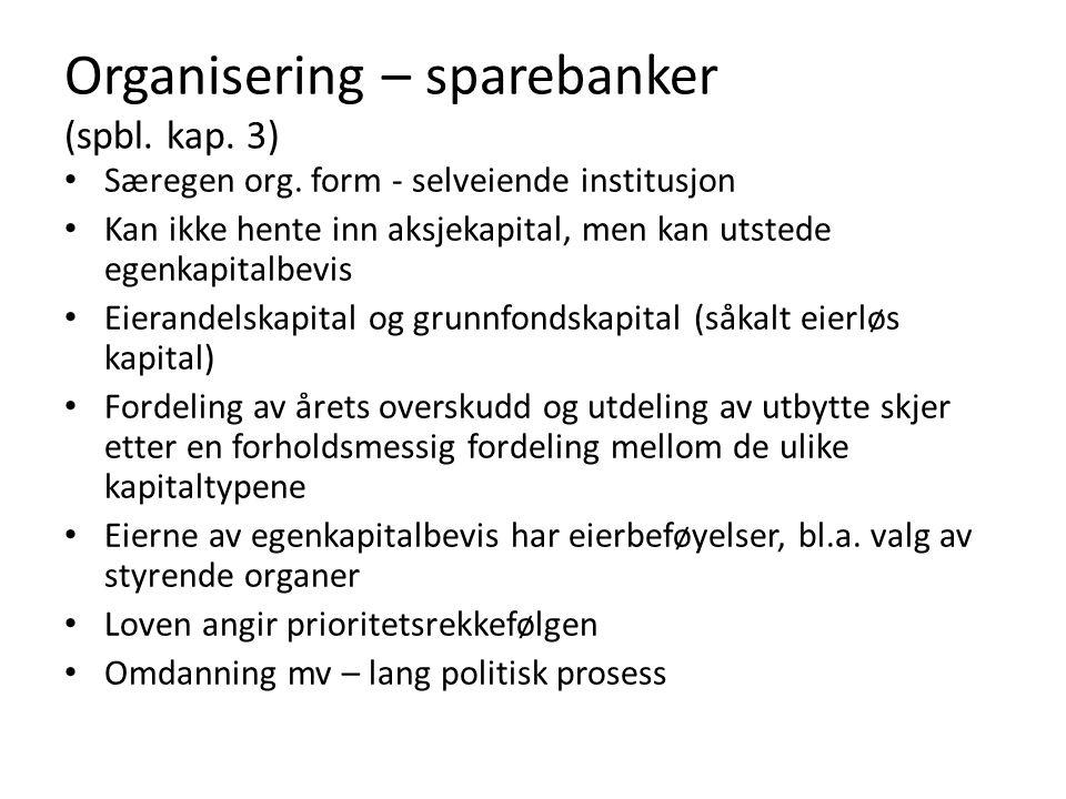 Organisering – sparebanker (spbl. kap. 3) Særegen org. form - selveiende institusjon Kan ikke hente inn aksjekapital, men kan utstede egenkapitalbevis