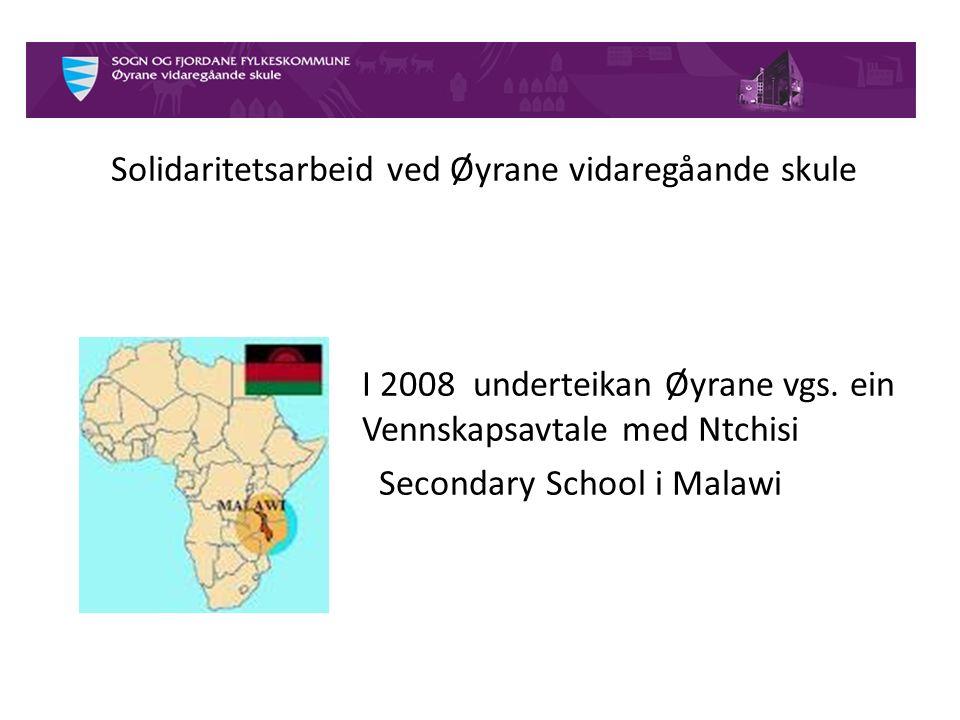 Historia bak vennskapsavtala Elevrådet ønska eige prosjekt i staden for Operasjon Dagsverk 2008 starta vi samarbeidet med Ntchisi Secondary School, Malawi Denne avtalen har vi utvida til 2015