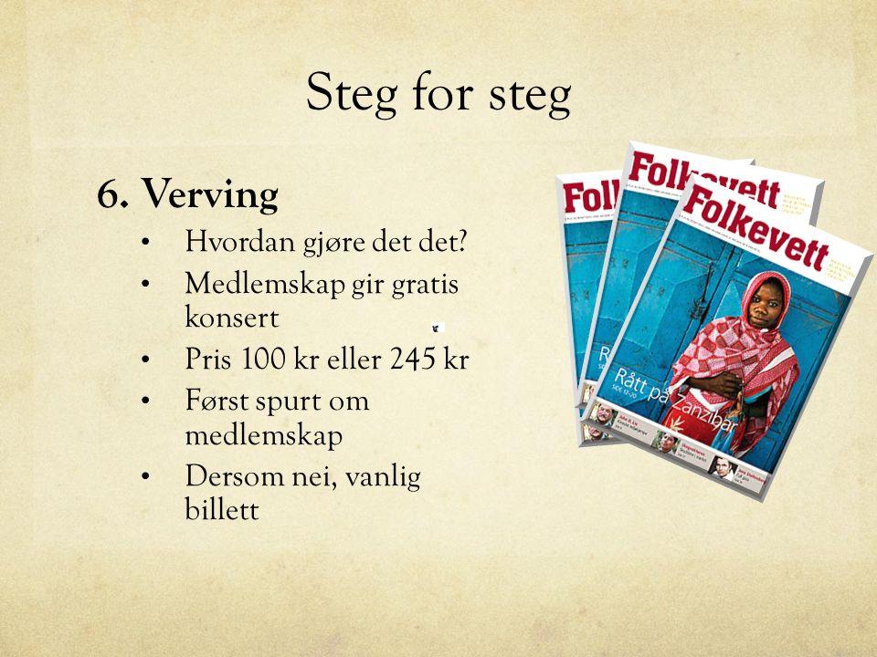 Steg for steg 7.Promotering Facebook, flyers, plakater, bruk artistene sine kaner 8.