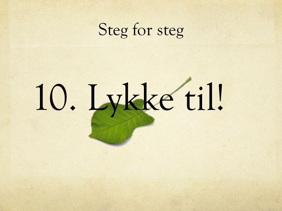 Steg for steg 10. Lykke til!