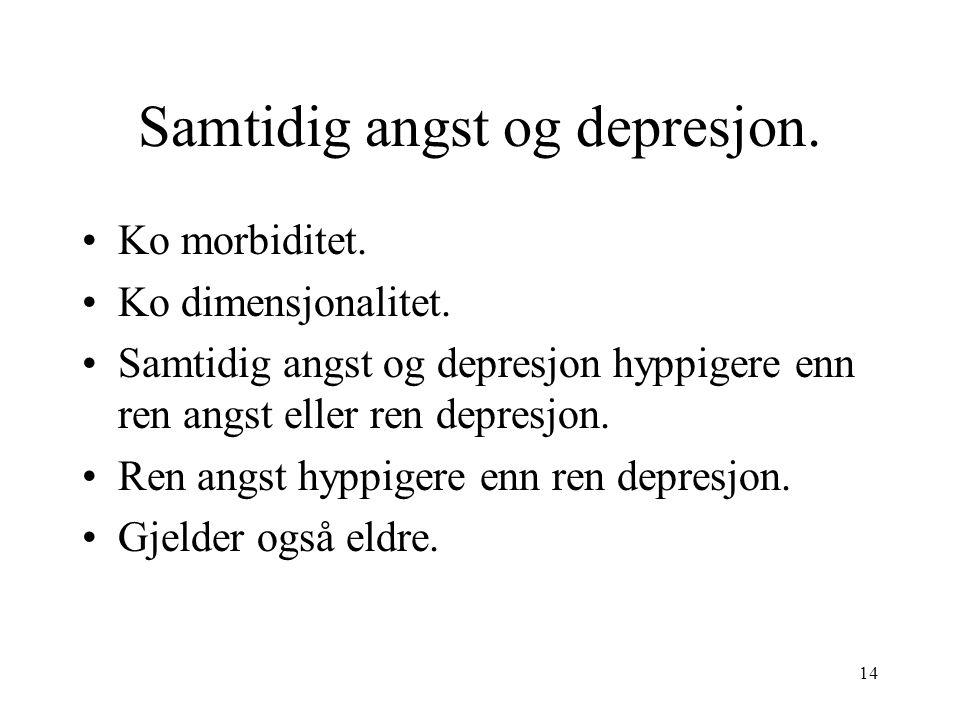 14 Samtidig angst og depresjon. Ko morbiditet. Ko dimensjonalitet.