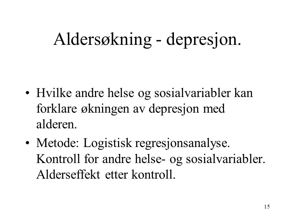 15 Aldersøkning - depresjon.