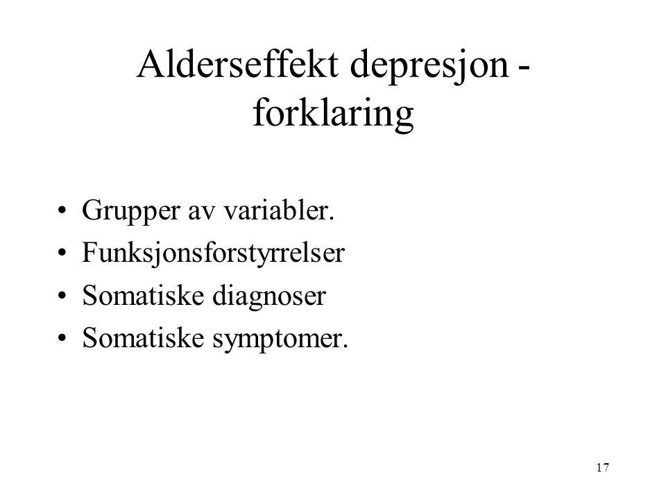 17 Alderseffekt depresjon - forklaring Grupper av variabler.