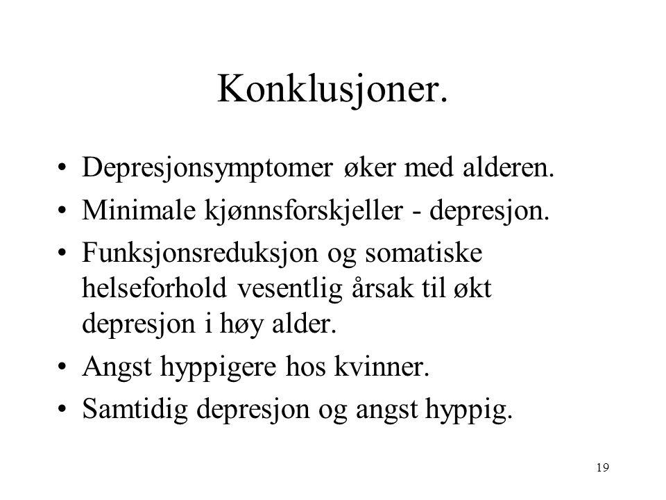 19 Konklusjoner. Depresjonsymptomer øker med alderen.
