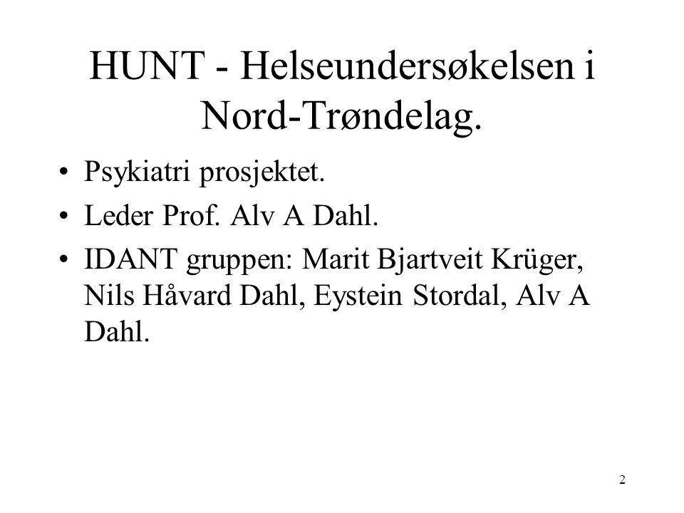 2 HUNT - Helseundersøkelsen i Nord-Trøndelag. Psykiatri prosjektet.