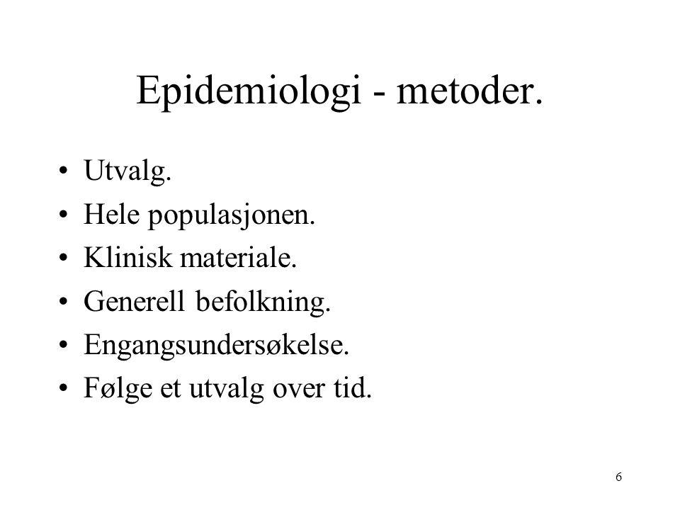 6 Epidemiologi - metoder. Utvalg. Hele populasjonen.